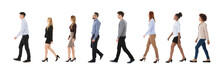 Male And Female College Students Walking In Row