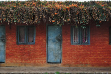Old Nepalese Simple Red House ...
