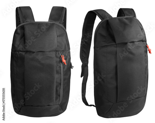 Obraz Black backpack isolated on white with clipping path - fototapety do salonu