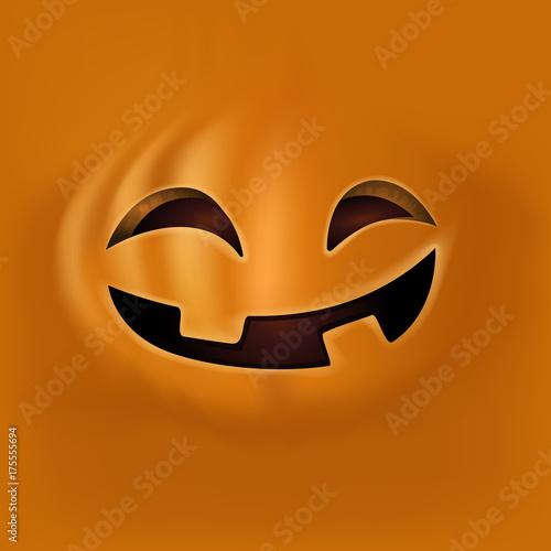 halloween pumpkin face on orange background cute pumpkin face