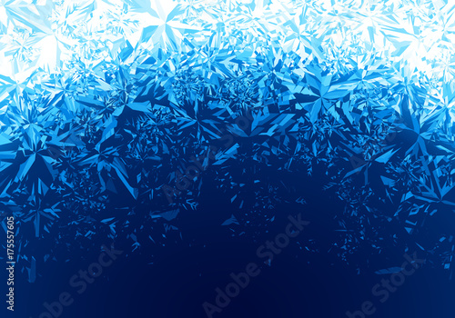 Winter blue ice frost background Canvas Print