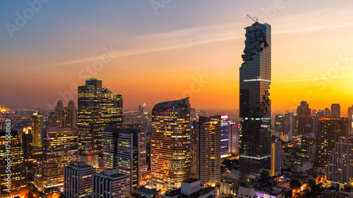 Photo Stands Bangkok Panorama Cityscape view of Bangkok modern office business building in business zone at Bangkok,Thailand. Bangkok is the capital of Thailand and also the most populated city in Thailand.