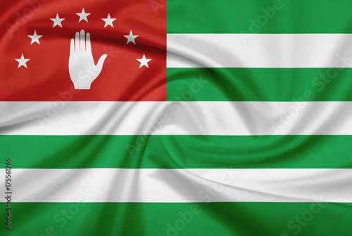 Plakat Flaga Abchazji z tkaniny tekstury.
