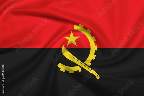 Plakat Flaga Angoli z tkaniny tekstury.