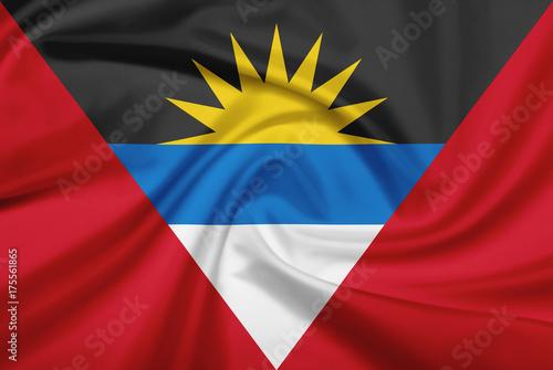 Plakat Flaga Antigui i Barbudy z tkaniny tekstury.