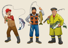Fisherman People Cartoon Set