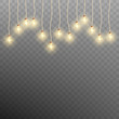 Christmas garland lights isolated on transparent background. EPS 10 vector