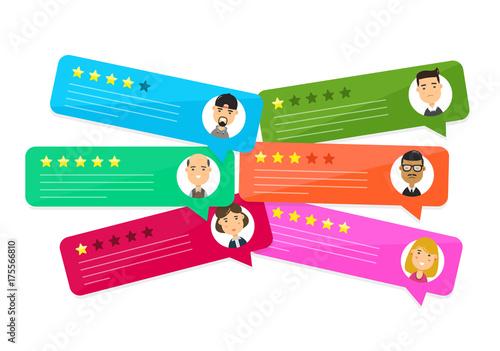 Fotografía  Review rating bubble speeches. Vector