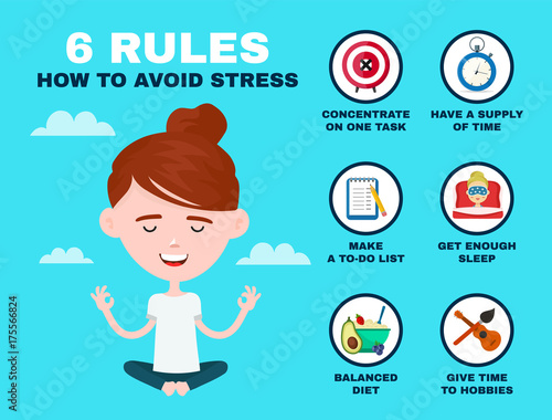 Photo 6 rules to avoid stress infographic. Young