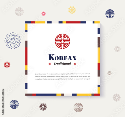 Korean traditional frame design. strip color design frame. vector illustration. Wall mural