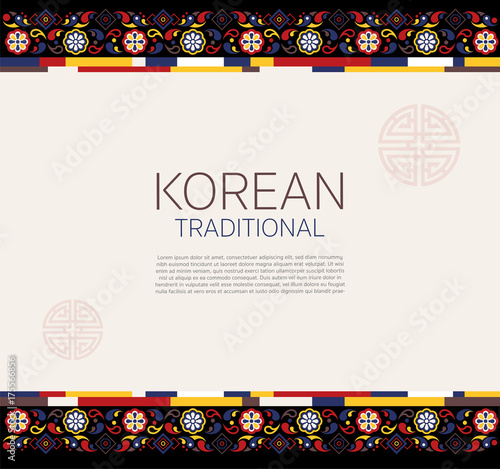 Korean traditional frame for replace text. vector illustration Wall mural