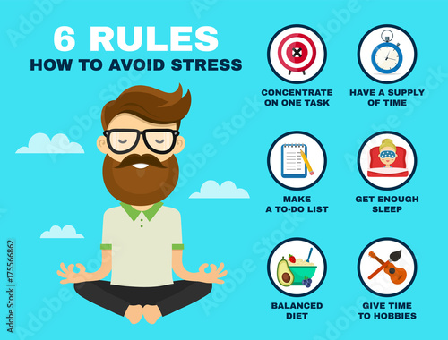 6 rules to avoid stress infographic. Canvas Print
