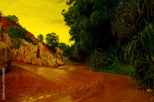 Foto op Canvas Rood paars Road through the mountains