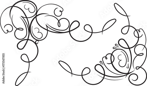 Para ozdobnych ozdobnych kwiatowych narożników. Wektorowa ilustracja dla twój projekta lub tatuażu.