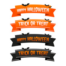 Happy Halloween Trick Or Treat Ribbons. Eps10 Vector.