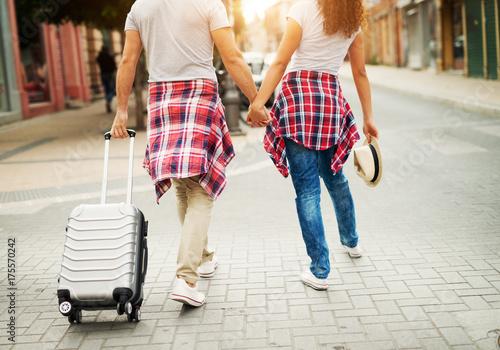Plakat Tylni widok potomstwa dobiera się odprowadzenie przez miasta z bagażem.