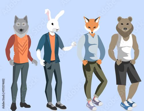Canvas Print Anthropomorphic animals man