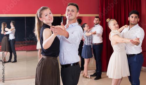 Obraz na plátně People dancing slow ballroom dances