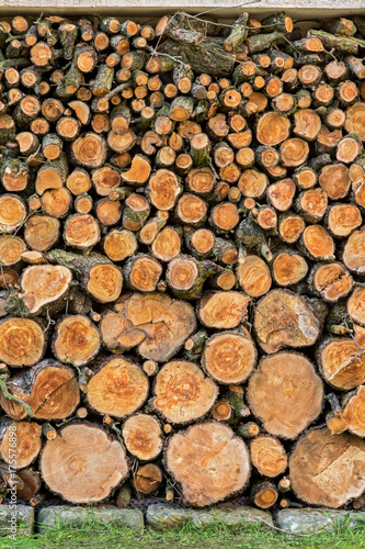 Heap Of Wood Logs Ready For Winter. Stack Of Chopped Firewood. A Pile Of