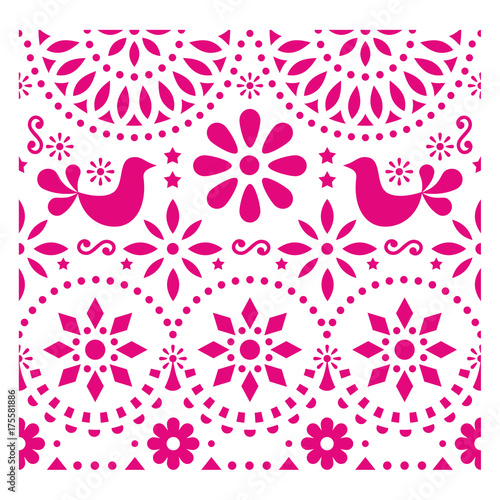 Fotografija  Mexican folk art vector pattern with birds and flowers, pink fiesta greeting car