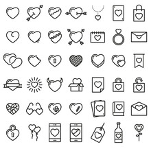 Set Of 42 Simple Icons With Heart For Valentine's Day, Web Design, Sites, Applications, Games, Stickers…