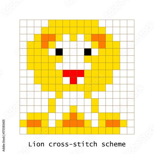 Cross Stitch Pixel Art Lion Animal Vector Set Brick Style