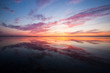Dramatic colorful sunset over the lake