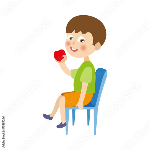 Fine Vector Flat Cartoon Boy Kid In Shorts And T Short Sitting At Gmtry Best Dining Table And Chair Ideas Images Gmtryco