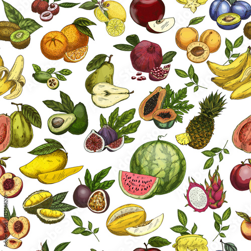 Cuadros en Lienzo Fruits as seamless pattern background for wrapper