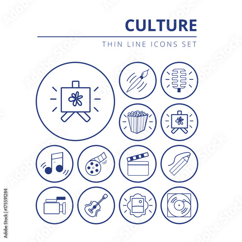 Foto Set of icons related to culture painting, music and cinema