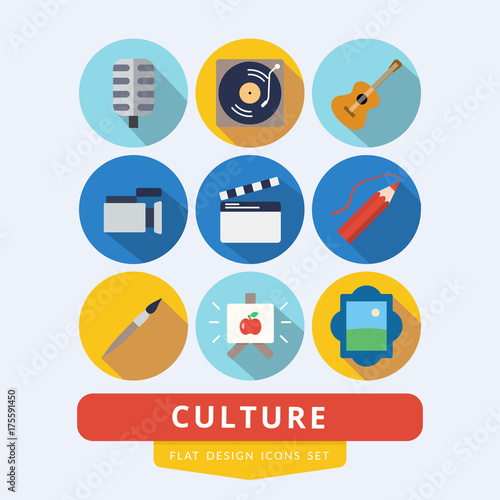 Set of icons related to culture painting, music and cinema Fototapete