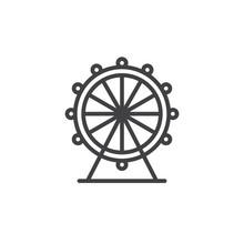 Ferris Wheel Line Icon, Outlin...