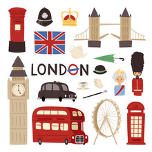 London Travel Icons English Se...