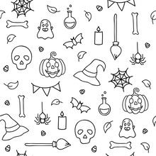 Halloween Seamless Pattern For...
