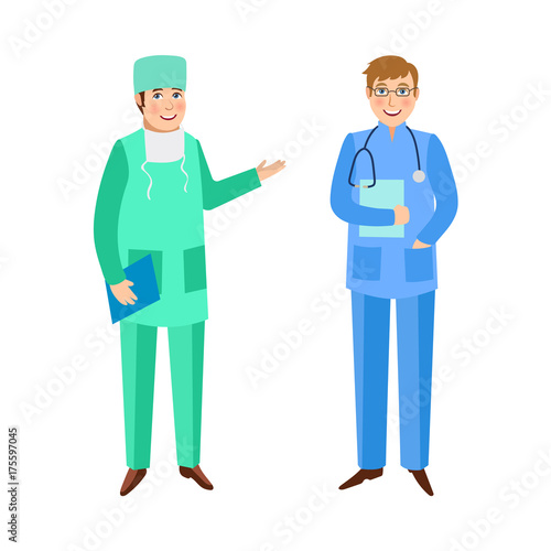 Two Male Doctors Surgeon And Therapist In Medical Overalls