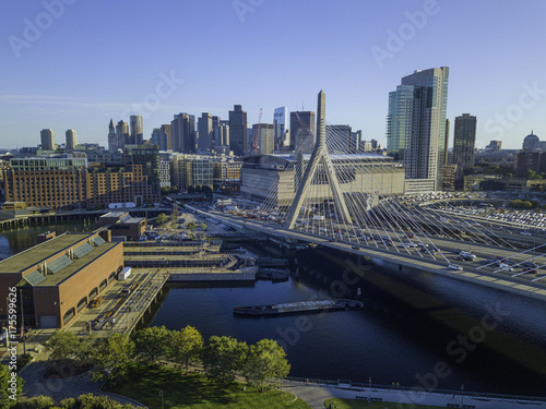 Fototapety, obrazy: Pier of Boston Massachusetts USA, Wharf with sailboat and yachts in Charles Rive, skyline skyscrapers