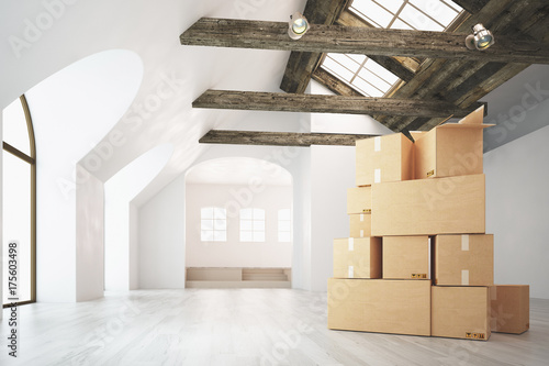 Fotografie, Obraz  Scatoloni da trasloco in stanza con travi a vista, render 3d