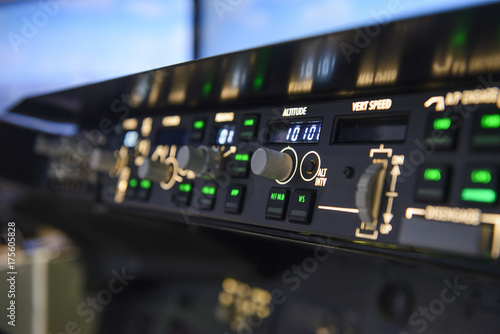 Photo Aircraft autopilot altitude controls panel display