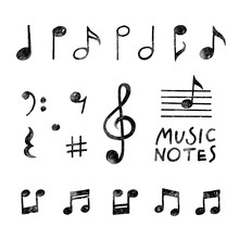 Vector Hand Drawn Music Notes