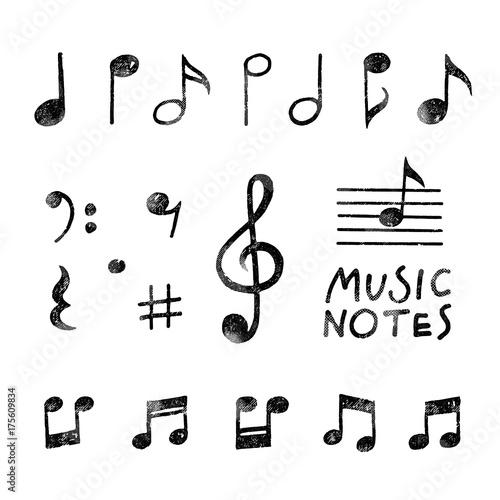 Vector Hand Drawn Music notes Wall mural