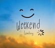 canvas print picture - Weekend loading on beautiful Sunrise yellow and blue sky background with copy space