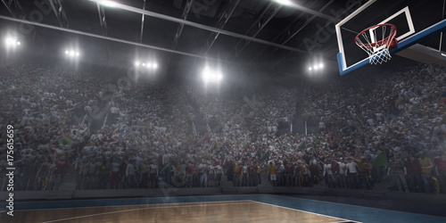 Professional basketball arena in 3D. Big basketball stadium with a lot of fans, bright light and a basketball hoop. Bottom view.