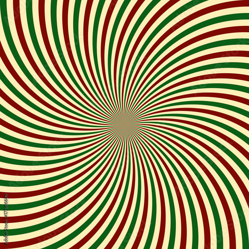 Red Green White Sunbeam Background Striped Candy Cane Abstract Wallpaper Vector Illustration