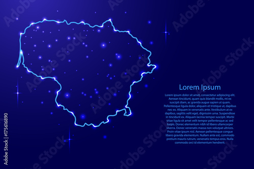 Photo Map Lithuania from the contours network blue, luminous space stars of vector ill