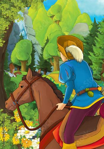 Kreskówka szlachcica jazda na białym koniu - książę lub król - ilustracja dla dzieci