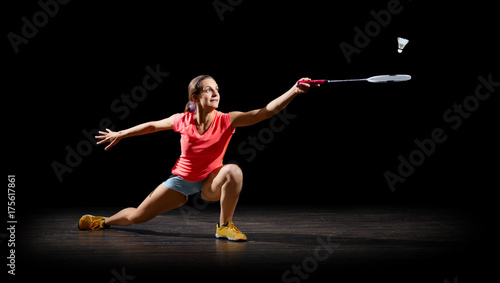 Photo Woman badminton player (half isolated ver)
