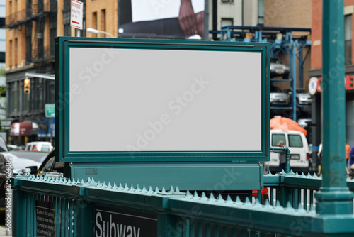 Deurstickers New York Subway Entrance Billboard