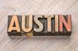 Austin in vintage wood type