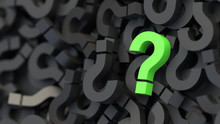 Black And Green Question Marks Background. 3D Rendering.