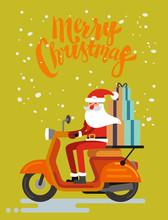 Santa Claus Riding Scooter On Orange Background